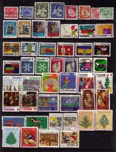 CANADA 50 DIFF CHRISTMAS STAMPS, NICE LOT OF PICTORIALS, SEE SCAN