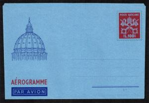 Vatican City Aerogramme L.100 Papal Arms; Unused