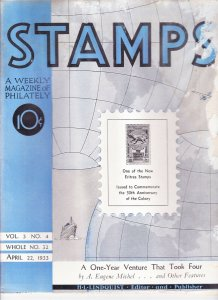 Stamps Weekly Magazine of Philately April 22, 1933 Stamp Collecting Magazine