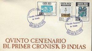 COSTA RICA GONZALO FERNANDEZ de OVIEDO,COAT of ARMS Sc C732-C734 FDC 1978