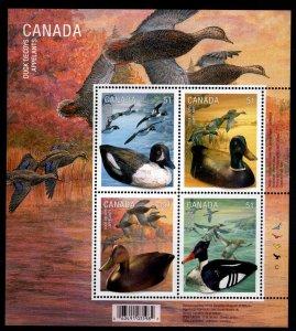 Canada Scott 2163-2166b  MNH**  Duck and Decoy souvenir sheet.