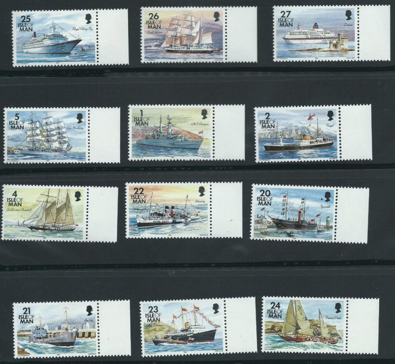 Isle of Man MUH SG 539 - 550  Low Values 1993 ships