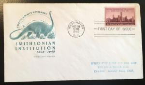943 Smithsonian First Day Cover, Farnum Cachet, Vic's Stamp Stash