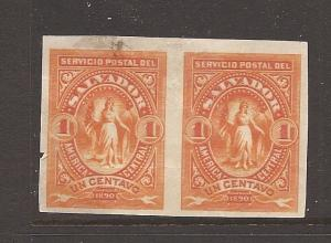 El Salvador plate proof pair 1c orange small tear at left, smudge (14ayx)