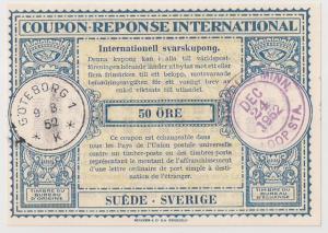 Sweden International Reply Coupon 1952 pm Minneapolis MN IRC