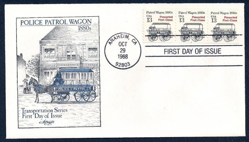 UNITED STATES FDC 13¢ Patrol Wagon PNC #1 1988 Artmaster
