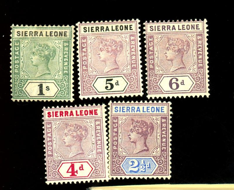 Sierra Leone #38 40 41 42 43 MINT F-VF OG LH Cat $44