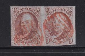 1 b Pair Orange Brown VF red grid cancels PF certificate sound  ! see pic !