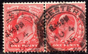 1902 Sg 219 1d scarlet with Worcester Double Circle Single Arc Cancellation
