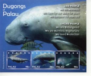 2011 Palau Dugongs MS of 3 (Scott 1029) MNH