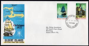 Gilbert Islands 1977 Sc#300-302 Cap.Cook/Ships/Christmas (2) FDC