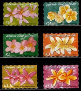 Papua New Guinea MNH 1170-5 Frangipani Flowers Orchids  2005