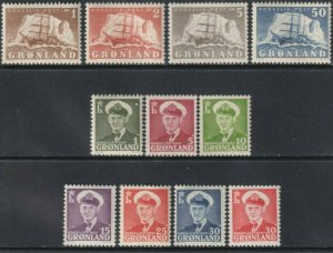 Sc# 28 / 38 Greenland 1950-60 Polar Ship & Frederik IX MVLH set CV $124.90 St2
