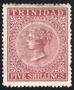 Trinidad 1869 5s Rose Lake SG 87 Scott 50 LMM/MLH Cat £170($212)