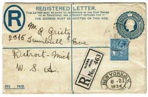 Malta 1934 Sliema cancel on registry envelope to the U.S.