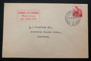 1948 Mobil PO Switzerland Zionist Congress Cover To Montreaux Palace Hotel