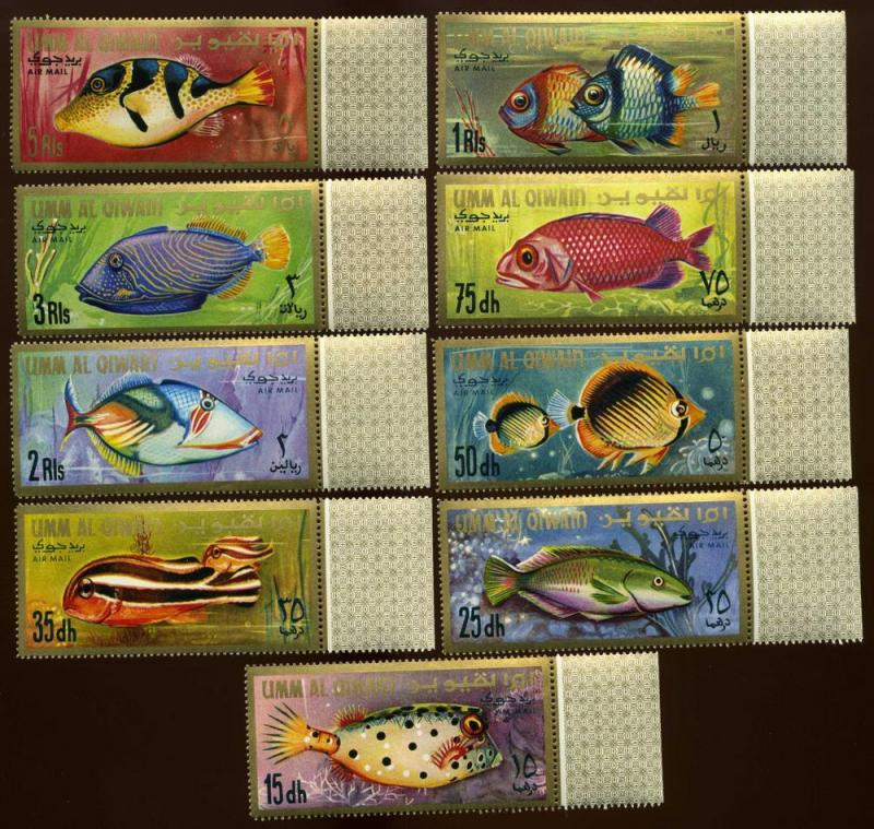 Umm Al Quain SG#s 134-142 Airmail Set of 9 Fish mognh