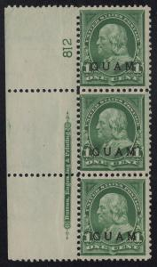 Guam #1 Deep Green - Plt.# Strip of 3 - O.G. - 1 Stamp Hinged - Cat: $90.00
