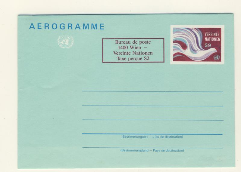 UNITED NATIONS / VIENNA OFFICE - 1986 - URATED AIR LETTER SHEET - MINT
