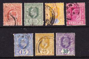 CEYLON 1903-05 KEVII PART SET FU
