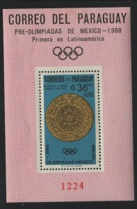 Paraguay 1966 Pre-Olympic set & S/S Sc# 927-34a NH