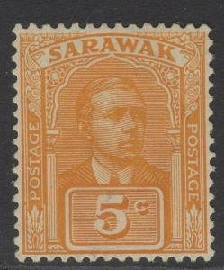 SARAWAK SG80 1929 5c YELLOW-ORANGE MTD MINT
