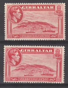 GIBRALTAR 1938 KGVI THE ROCK 11/2D PERF 13.5 AND PERF 14