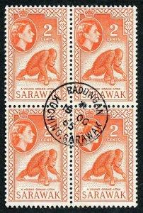 SARAWAK SG205 1965 2c Red-orange Wmk w12 THE KEY VALUE CDS Block Cat 64 pounds