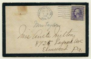 U.S. Scott 529 on 1918 Mourning Cover Sent from Philadelphia, PA w/Letter