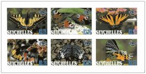 SEYCHELLES SHEET IMPERF CINDERELLA BUTTERFLIES INSECTS