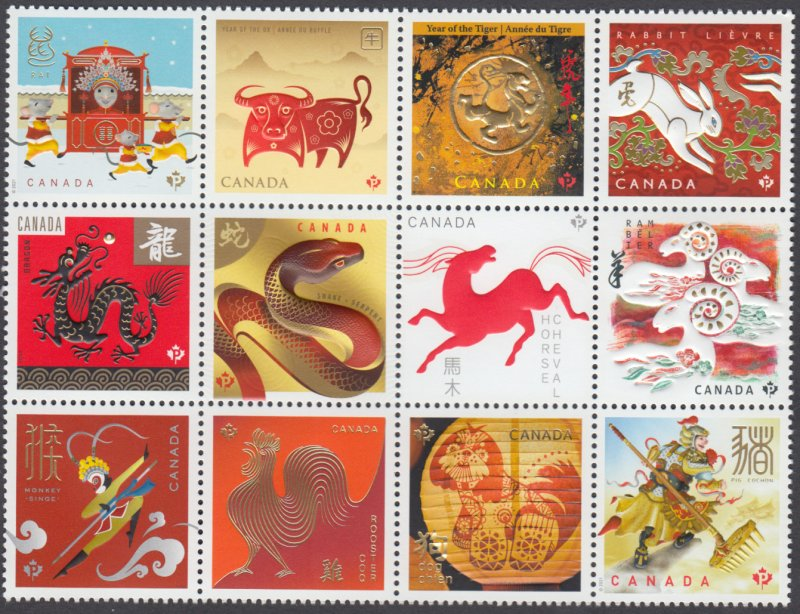 Canada -*NEW* Lunar New Year Cycle Block of Twelve - 2021 Issue - MNH