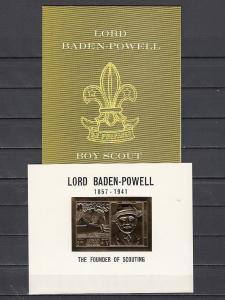 Ras Al Khaima, Mi cat. 295, BL66. Scout B. Powell Gold Foil s/sheet. S/folder. ^