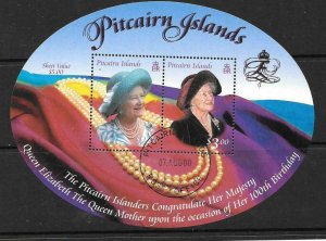 PITCAIRN ISLANDS SGMS582 2000 QUEEN MOTHER'S 100th BIRTHDAY FINE USED