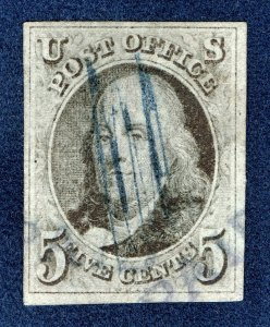 [0196] 1847 Scott#1 used 1¢ black brown with cancel PAID