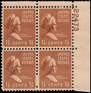 US #805 1 1/2¢ MARTHA WASHINGTON MNH UR PLATE BLOCK #22473 DURLAND .50¢