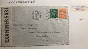 1943 Che Sham England Commercial Censores Cover To Philadelphia Pa Usa