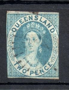 Queensland 1860 2d blue imperf SG#2 Cat Val £2000 WS13458