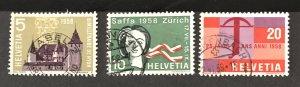 Switzerland 1958 #365-67, Used, CV $.75