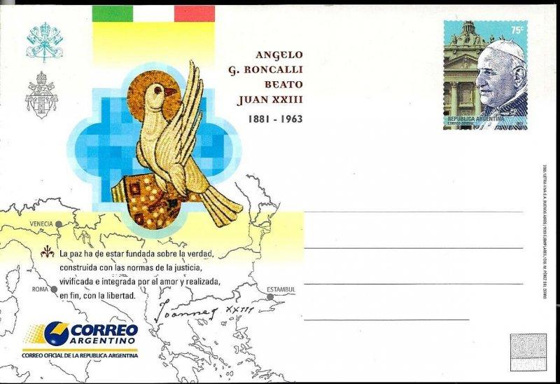 PS-148 ARGENTINA 2003 P STATIONARY RELIGION POPE JUAN XXIII UNUSED