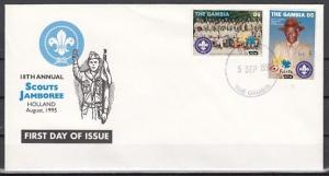 Gambia, Scott cat. 1656-1657. Holland Scout Jamboree issue on a First day cover.