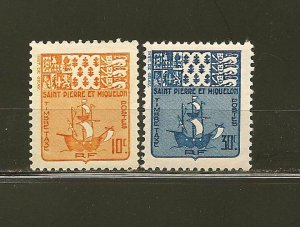 St. Pierre and Miquelon J68-69 Fishing Scooner Postage Dues MLH