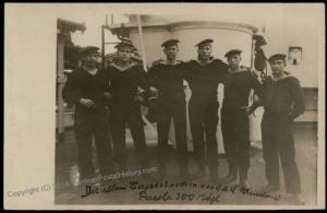 Germany Empire WWI Navy Ship SMS Rheinland Crew  RPPC 63762