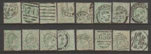 GB Edward VII SG 215 selection of 16  good used for postmarks