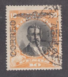 Chile Sc C14 used 1928 10p Balmaceda w/ CORREO AEREO overprint, F-VF