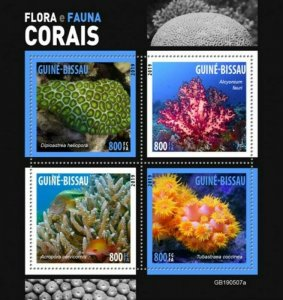 Guinea-Bissau - 2019 Corals on Stamps - 4 Stamp Sheet - GB190507a