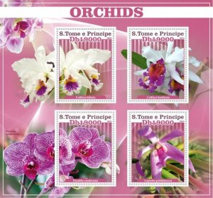 Stamps.Flowers Orchids Set 2 sheet perforated