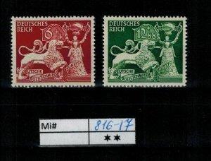 Deutschland Reich TR02 DR Mi 816-17 1939 Reich Postfrisch ** MNH