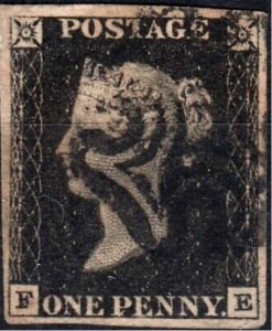 Great Britain Penny Black FE Four Margins