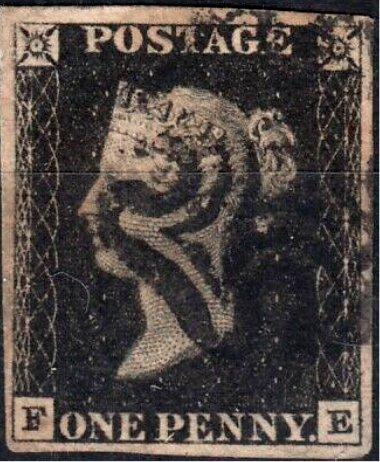 Great Britain Penny Black FE Four Margins