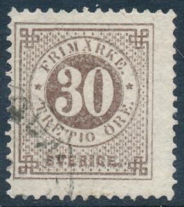 Sweden Scott 35/Facit 35f, 30ö brown Ringtyp p.13, F Used THICK numerals